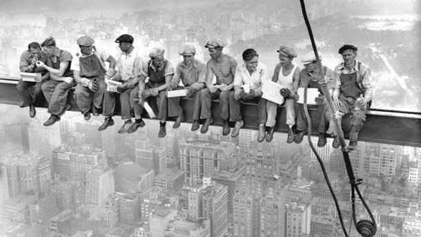 vintage workers on a break on the empire state building 207653