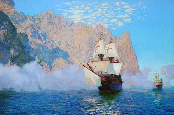 800px New Albion. English galleon Golden Hinde by Sir Francis Drake. Oil on canvas
