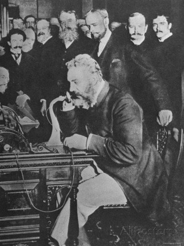alexander graham bell inaugurating the new york chicago telephone line while others look on