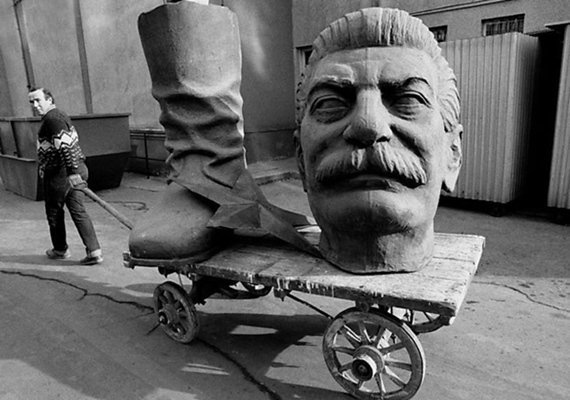 dismantled statue of stalin in budapest hungary ca 1990