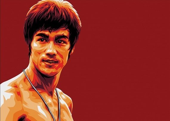 Bruce Lee Art Actor Fighter Red Painting Face Water Color WallpapersByte com 1920x1080