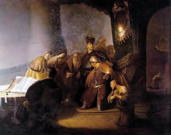 Judas Returning the Thirty Silver Pieces Rembrandt